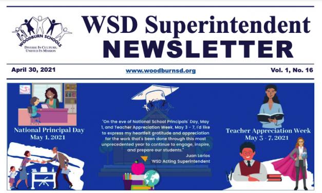 WSD Superintendent Newsletter Volume 1, Issue 16